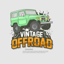 Offroad Jeep Vector Drawing Il...
