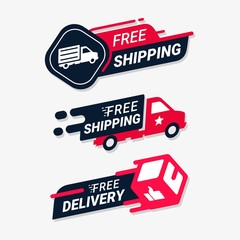 Free shipping delivery service logo badge. Fast time delivery order . Quick shipping delivery icon