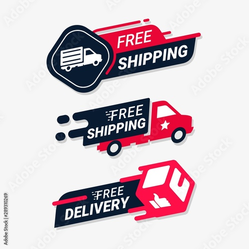 Fotomural  Free shipping delivery service logo badge