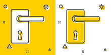Black Door Handle Icon Isolated On Yellow And White Background. Door Lock Sign. Random Dynamic Shapes. Vector Illustration
