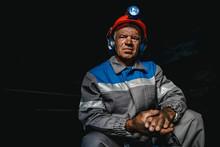 Portrait Miner Coal Man In Helmet With Lantern In Underground Mine. Concept Industrial Engineer