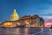 US Capitol Building At Night, ...