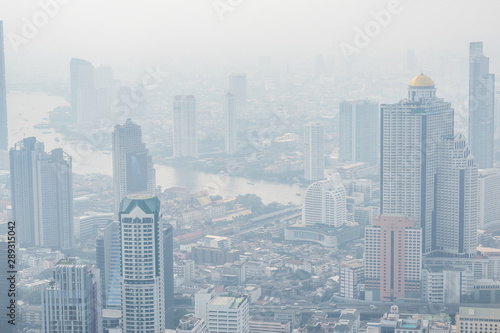 Foto auf AluDibond Dunkelgrau Air pollution in Bangkok with PM2.5 air-quality index (AQI) reached dangerous level with dust and smog in hazy sky, threatening to public health, rooftop view