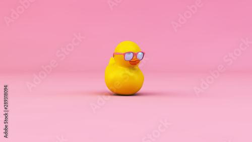 Photo  duck glasses 3d rendering