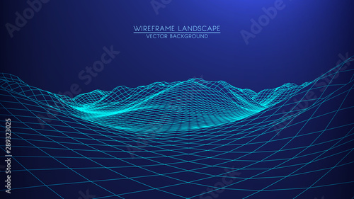 Fotobehang Zwart Vector retro futuristic background. Abstract digital landscape with particles dots and stars on horizon. Wireframe landscape background. Big Data Digital retro landscape Retro Sci-Fi Background.