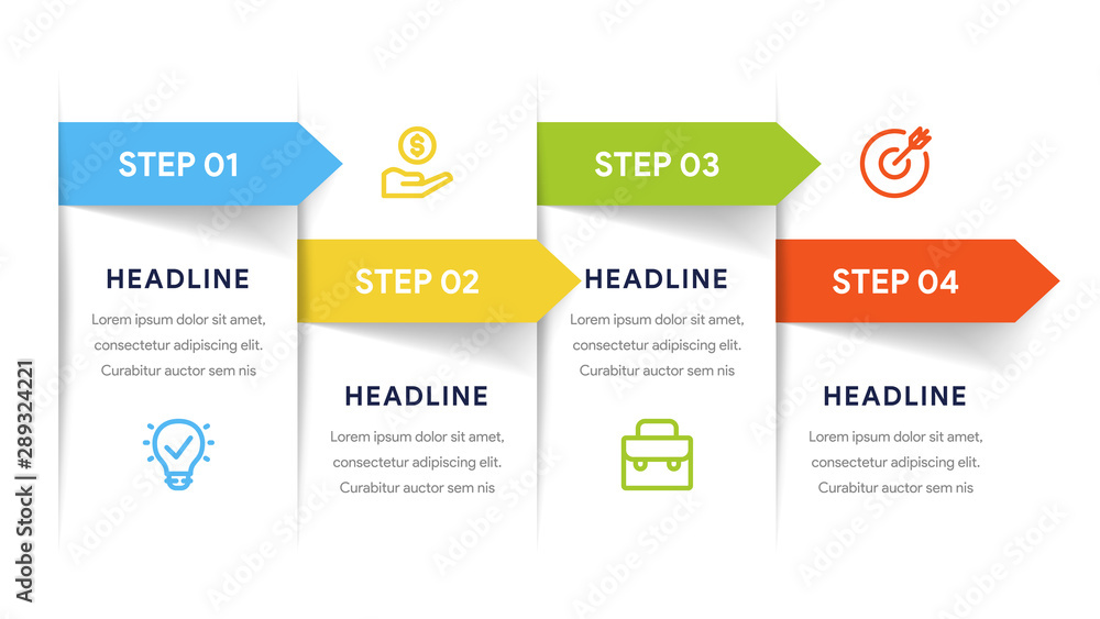 Fototapety, obrazy: Vector paper arrows infographic, banners diagram, labels graph, stickers presentation chart. Business concept with 4 options, parts, steps, processes. Slide template.