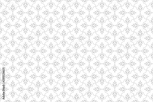 Fototapeten Künstlich Flower geometric pattern. Seamless vector background. White and grey ornament.