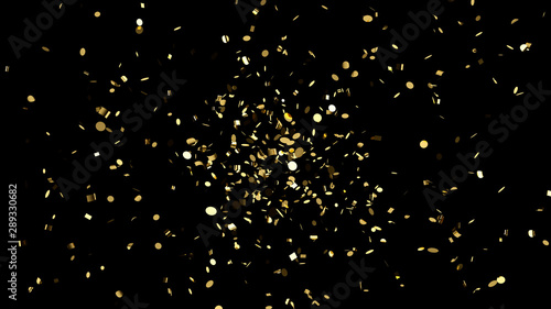 Explosion of gold confetti on an black background Tablou Canvas