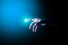 Dito, Mano, Tecnologia, Buio, Luce, Illuminata,