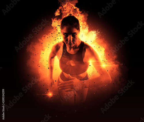 Acrylic Prints Flame Woman running on fire
