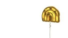 Gold Balloon Symbol Of Rainbow On White Background