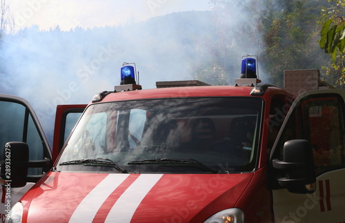 Fotografie, Obraz  Sofia, Bulgaria - September 12, 2019: Volunteers from the organization of the Bulgarian Red Cross participate in training with a fire service