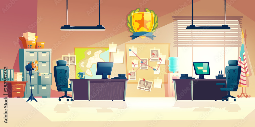 Fototapety, obrazy: Police station or department, investigation bureau room interior with police officers work desks, detectives, special agents workplaces, office furniture, map and pin board cartoon vector illustration