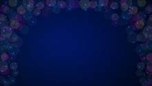 Abstract Dark Blue Glitter Bokeh Background With Circles And Sparks. Blurred Light Frame. Modern Beautiful Christmas And New Year Holiday Card Design Element. Copy Space