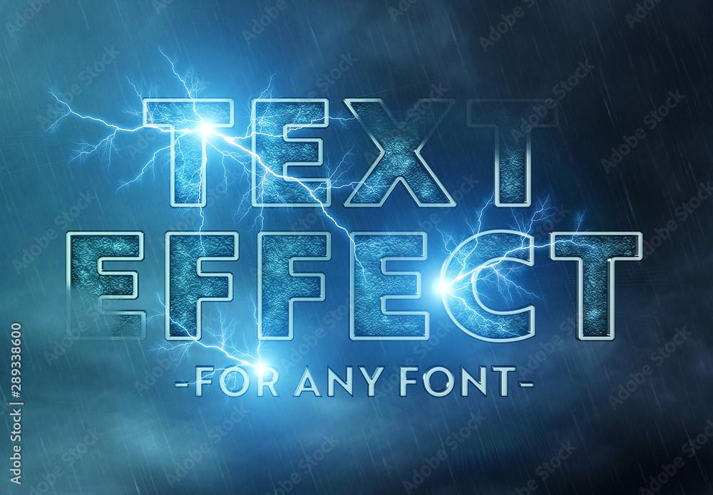 Fototapeta Lightning Storm Text Effect Mockup