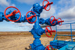 canvas print picture - Oil, gas industry. Group wellheads and valve armature , Gas valve, Gas well of high pressure
