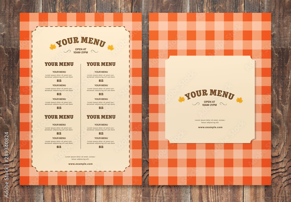 Fototapety, obrazy: Orange Fall Menu Layout