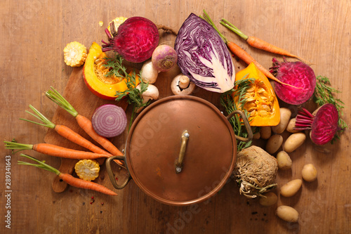 vegetable for soup- pumpkin, carrot,celery and cabbage Canvas Print