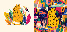 Tropical Vector Colorful Illustration With Leopard, Flowers, Leaves And Toucan.