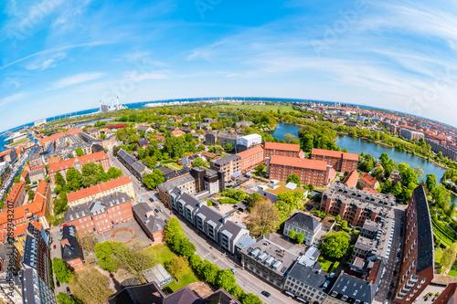 Fototapeta Beautiful aerial view of Copenhagen from above, Denmark obraz na płótnie