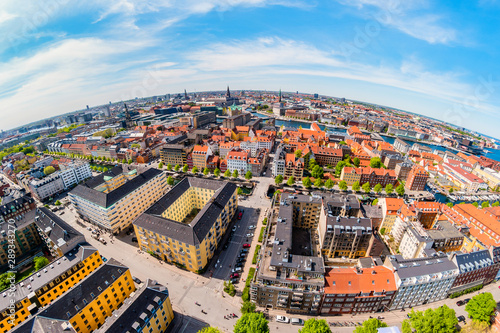 Photo Beautiful aerial view of Copenhagen from above, Denmark