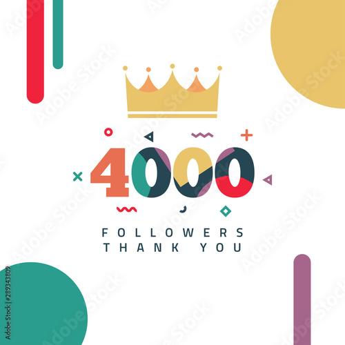 4000 Followers thank you design Wallpaper Mural