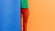 Leinwanddruck Bild - Creative fashion fitness image of sporty girl with yoga mat over bright  background