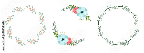 Fotografía Set of romantic botanical wreaths isolated on white