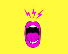 Cartoon Screaming Mouth Vector Illustration.