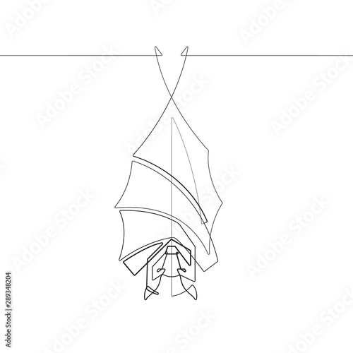 A Hanging Vampire Bat One Single Line Animal Vector Graphic Abstract Illustration