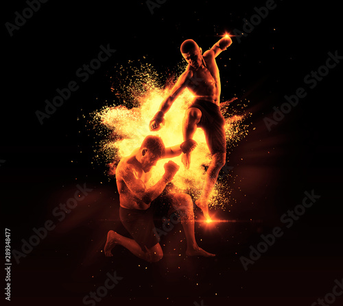 Acrylic Prints Flame MMA boxers fighters fight in fights without rules