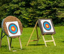 Archery Targets Standing On A Meadow