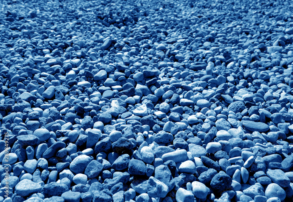 Fototapety, obrazy: Pile of small gravel stones in navy blue tone.