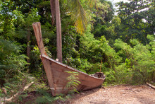 Old Abandoned Wooden Boat In T...