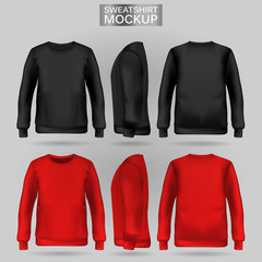 Blank men's red and black sweatshirt in front, back and side views. Vector illustration. Realistic male clothes for sport and urban style