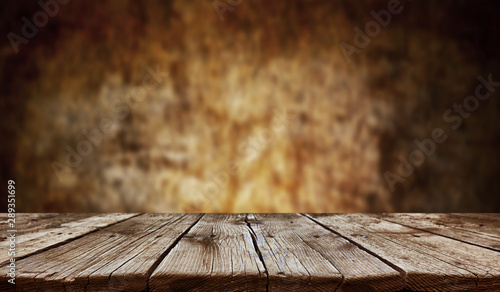 Fototapeta Empty old wooden table background