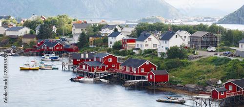 Fotografie, Obraz  Panorama of fishing village on lofotens, Norway, aerial, panorama, vacation conc