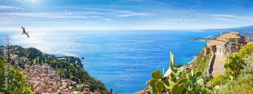 Stampa su Tela Panoramic collage with aerial view of Taormina and Church of Madonna della Rocca built on rock, Sicily, Italy