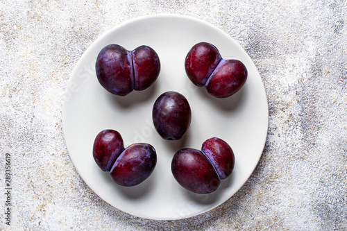 Ugly and normal plums. Abnormal organic fruit Canvas Print