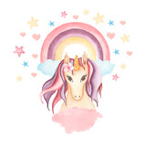 Watercolor hand drawn pink and violet unicorn card illustration with rainbow, star and heart,cloud, fairy tale animal creature, magical  clip art, isolated on white background.Birthday  pony card.