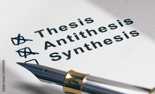 Photo Dissertation or essay writing, thesis, antithesis and synthesis.