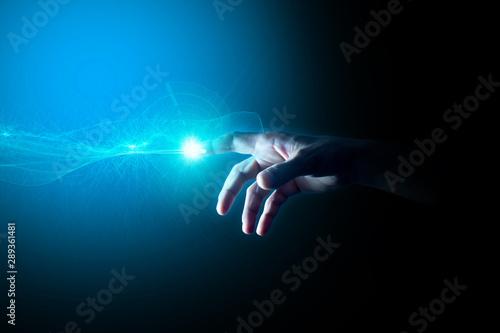 Valokuvatapetti dito, mano, tecnologia, buio, luce, illuminata,
