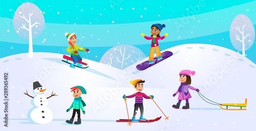 Foto auf Leinwand Turkis Winter Activities, Holiday Scene with Children.