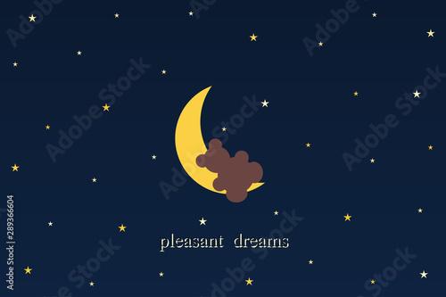 Night, moon, stars and bear. Vector illustration and text wish good dreams.