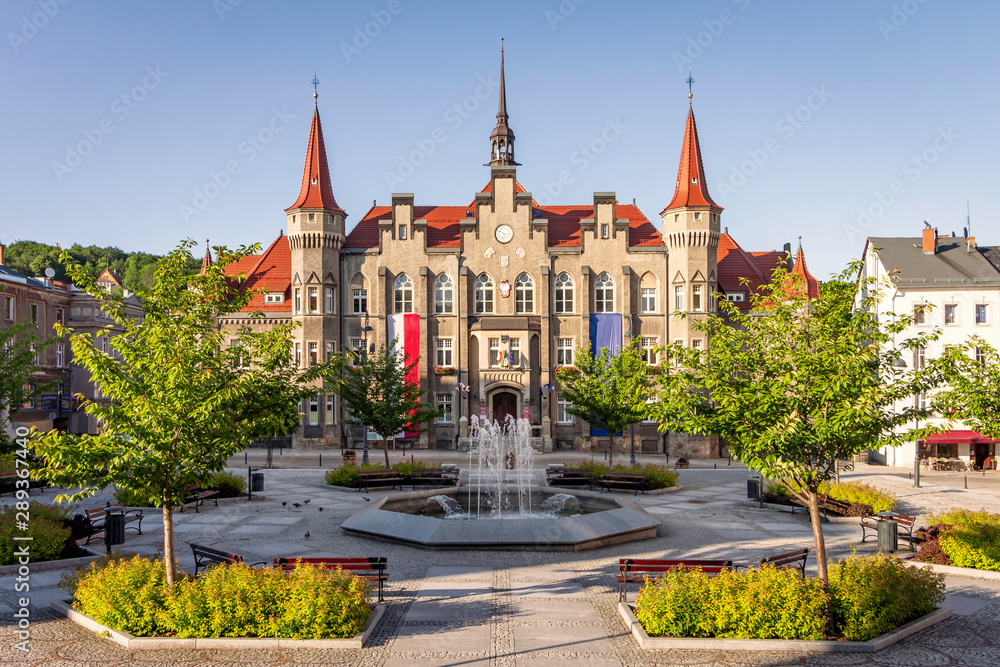 Fototapety, obrazy: Walbrzych, Poland - picturesque neo-gothic town hall at Magistracki Square