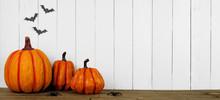 Halloween Pumpkin Decor On A W...