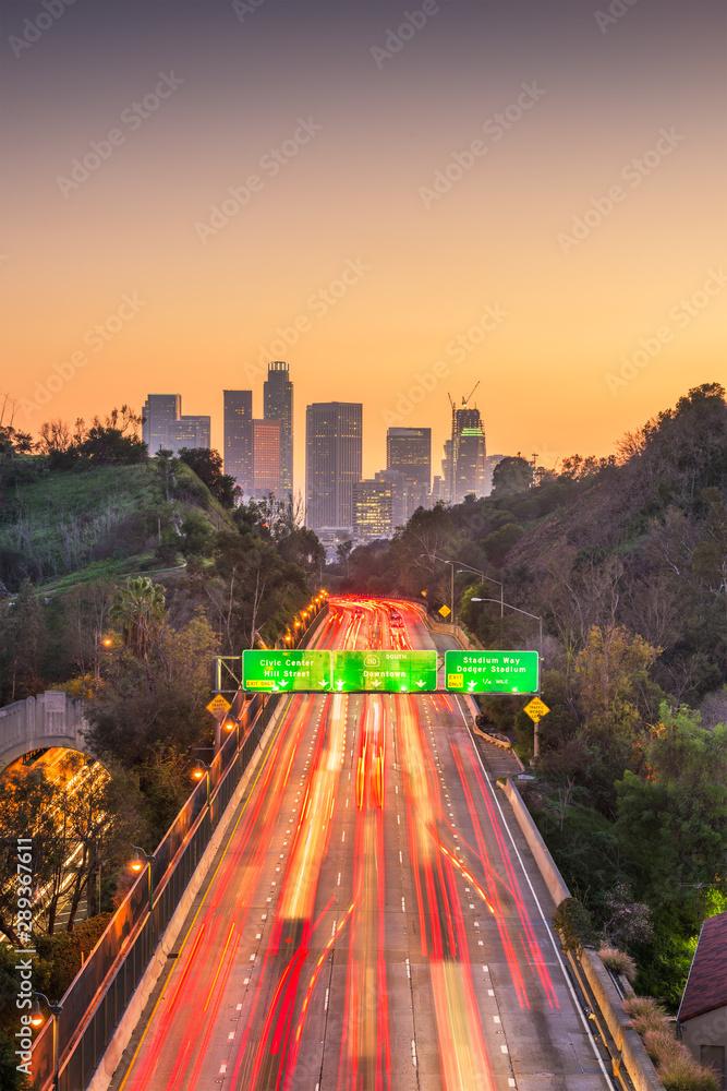 Fototapety, obrazy: Los Angeles, California, USA skyline and highway