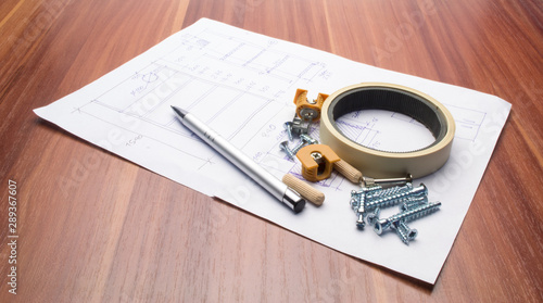 Photo Stands Height scale Furniture details and elements lie on a white sheet with product drawings.