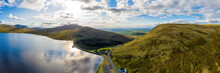 Aerial Panoramic View Of Sunset Reservoir In Mourne Mountain Area ,Northern Ireland