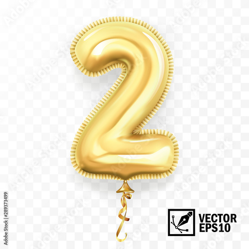 3d realistic isolated vector with number two, 2, gold helium balloon for your design decoration, party, birthday, ads